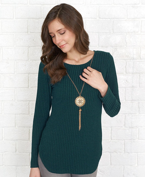 Ribbed Tunic with Fashion Necklace - Pine Large