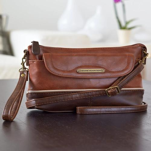Stone Mountain Leather Crossbody Bags-Cognac/Brown Horizontal