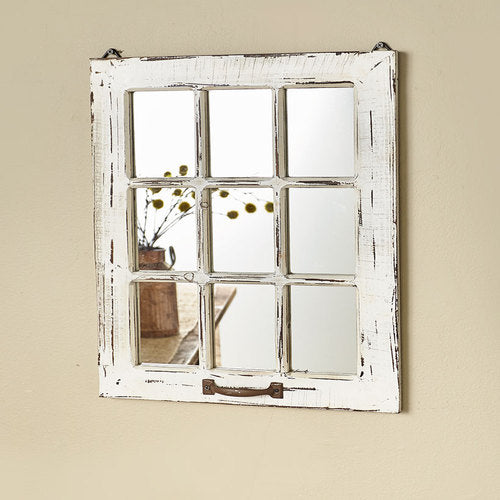 Distressed Wood Windowpane Mirrors-WHT