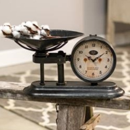 Antiqued Scale with Clock