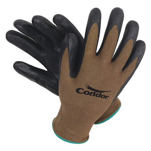 Coated Gloves, L, Black/Brown, PR