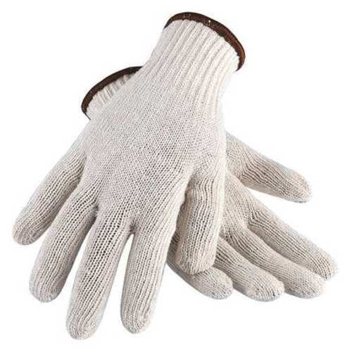 String Knit Gloves, Polyester/Cotton, White, X-Large