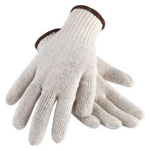 String Knit Gloves, Standard Weight, White, Cotton/Polyester, Large