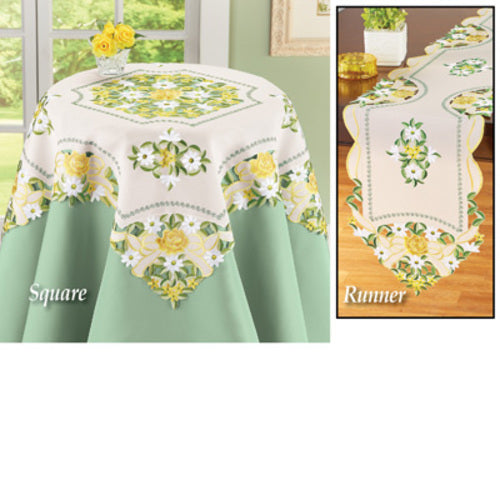 Yellow and White Daises and Roses Table Linens-Runner
