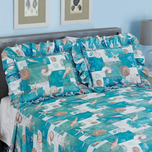 Coastal Seashell Patchwork Plissé Sham Set-Sham-Blue
