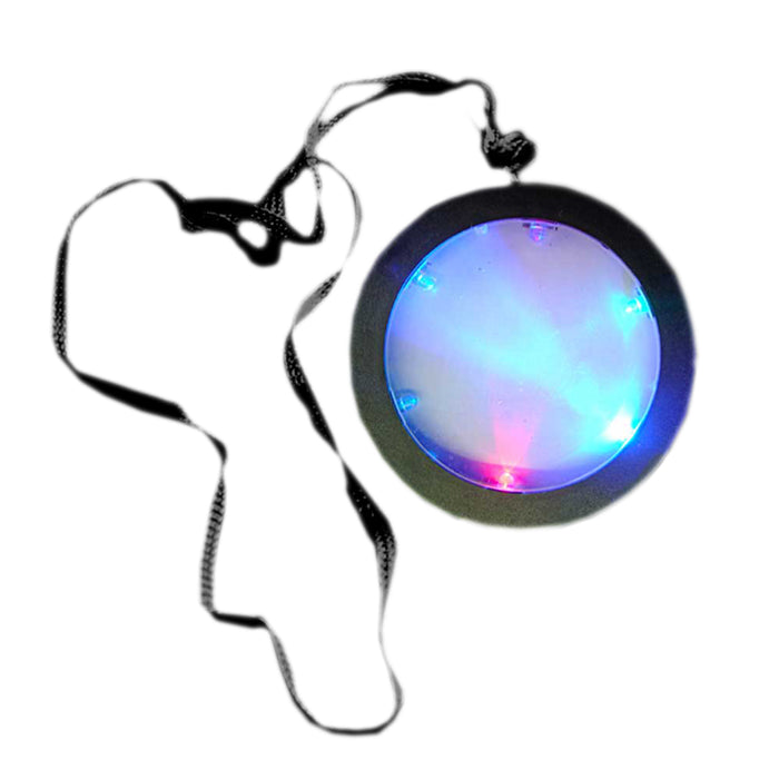 Multicolored Light Up Huge Disco Medallion Pendant Flashing Necklace For Parties
