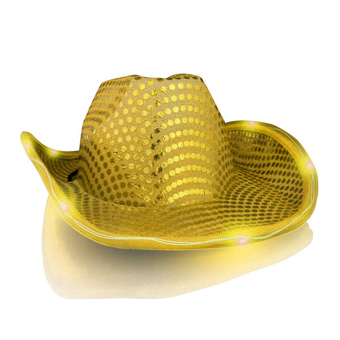 LED Flashing Cowboy Hat With Gold Sequins