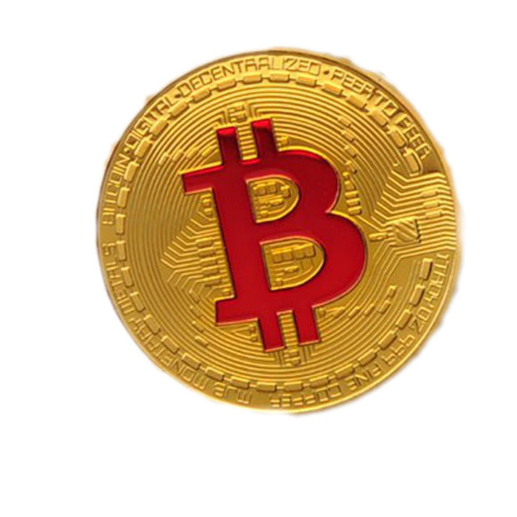 Gold Plated Bitcoin With Red Letter B Sign Non-Currency Replica Art Collection