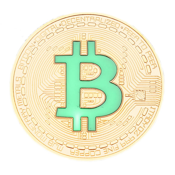 Collectors Item Silver Coated Bitcoin With Green Letter B No Value Replica Imitation
