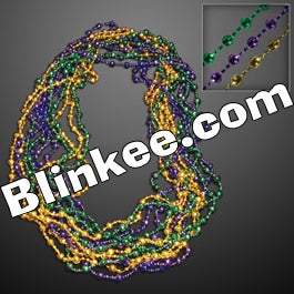 Purple Gold And Jade Disco Bead Mardi Gras Necklace Pack Of 12