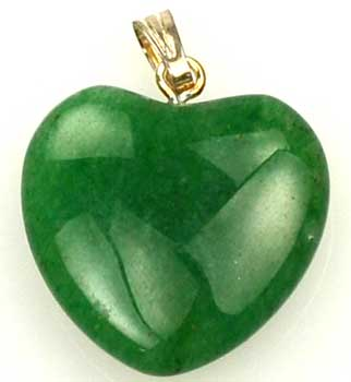 Raven Blackwood Imports Green Aventurine Tumbled Heart Gemstone Pendant Stimulate Creative Intelligent