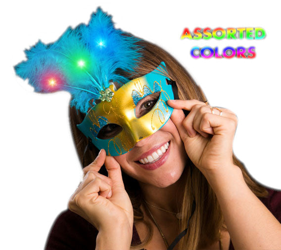 Light Up Feather Masquerade Ball Assorted Mask For Mardi Gras