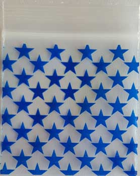 "RBI Fortune Telling Toys Blue Stars ReSealable bags 2"" x 2"" Package of 100 2.5mil Holds Magical Supplies"