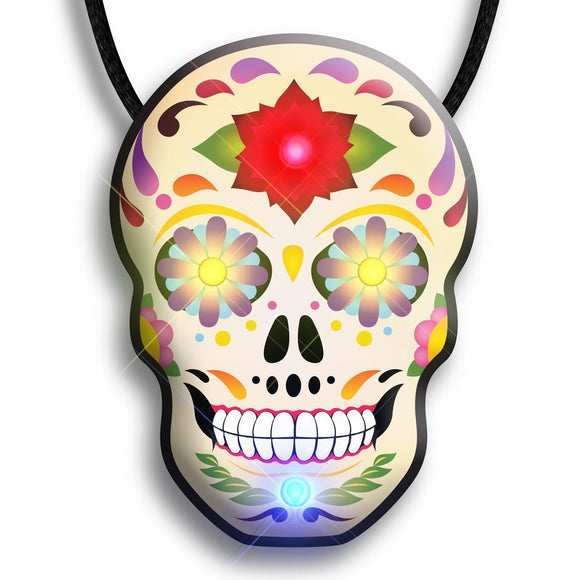 Day Of The Dead Skull Flashing Body Light Necklace