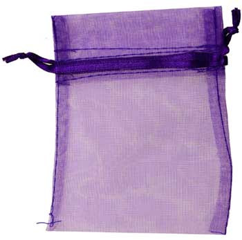 "2 3/4"" X 3"" Vibrant Purple Sheer Organza Pouch Bag"