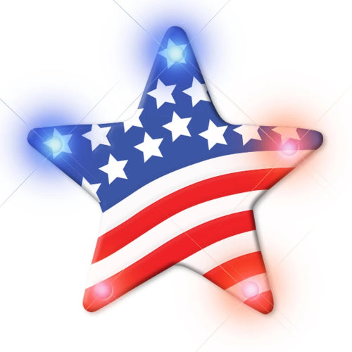 USA Star Flashing Body Light Lapel Pins