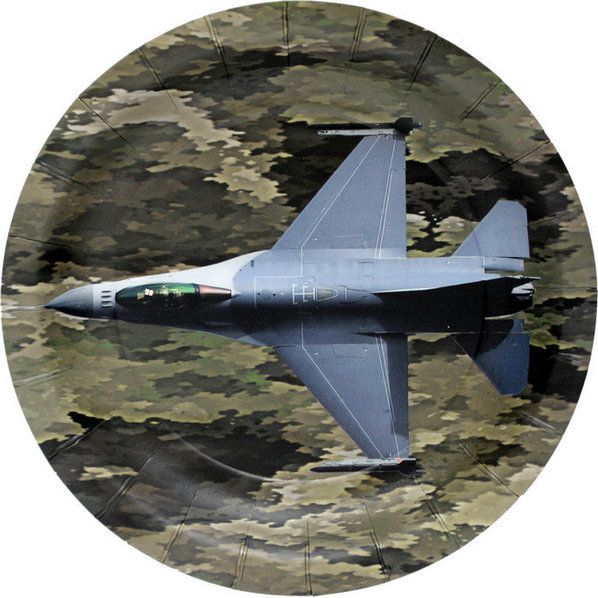"MILITARY CAMO FIGHTER JET PARTY PLATE 7"" (8)"