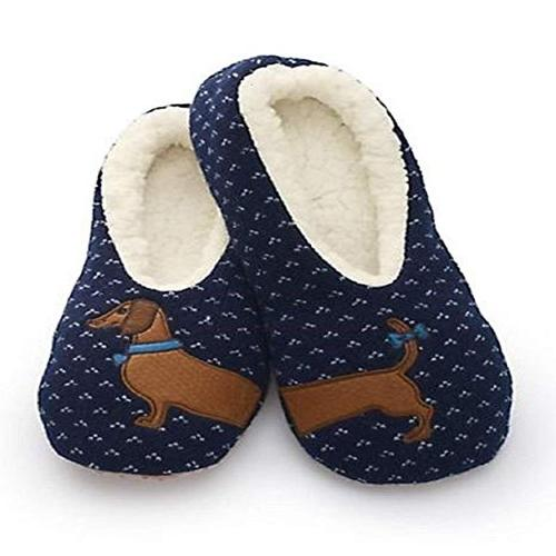 SHERPA WOMENS BLUE WIENER DOG SLIPPERS / DACHSHUND SLIPPERS (Medium / Large (8.5-10))