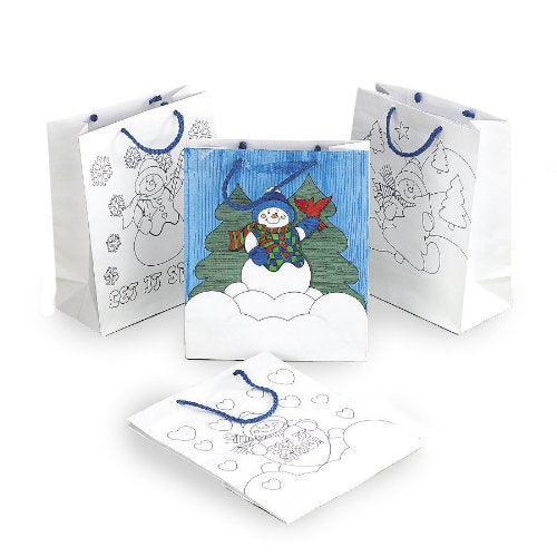 Color Your Own Snowman Gift Bags (1 dz)