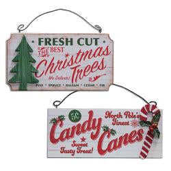 Candy Cane/Xmas Tree Orn, 2 Asst