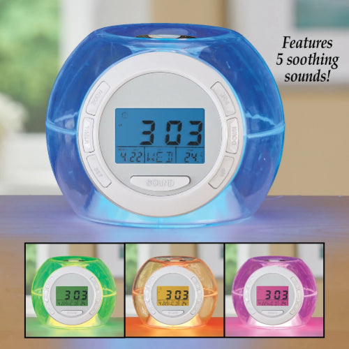 Ambient Color Changing Night Light Alarm Clock with Nature Sounds To Fall Asleep