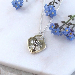 Paw print / pet memorial necklace with engraved paw prints and pet's name on front of sterling silver heart