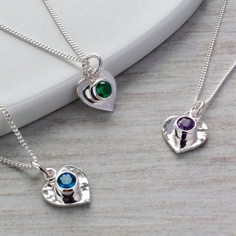 birthstone necklace with sterling silver heart