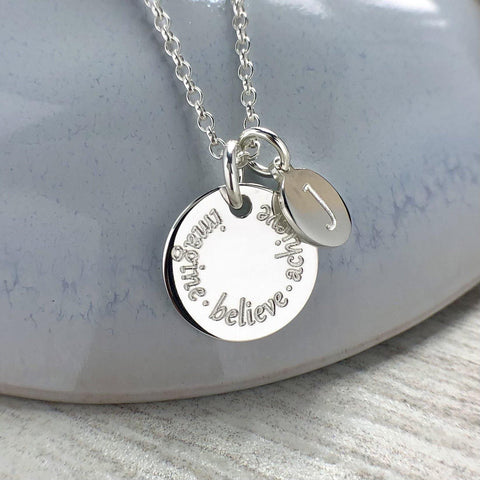 Engraved necklace, sterling silver, any names or words up to 25 letters plus initial charm