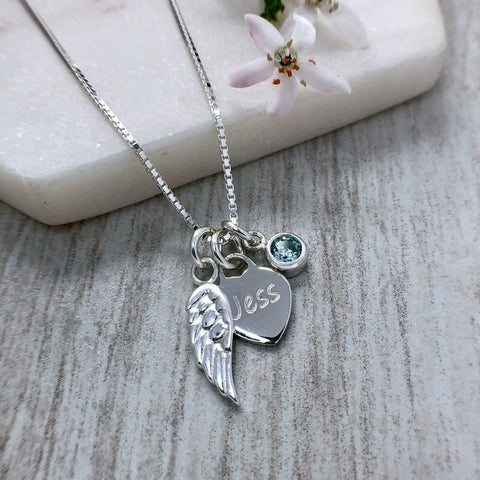 angel wing necklace with engraved heart and birthstone charm