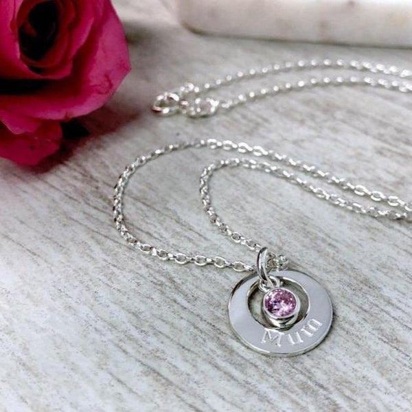 mum necklace, sterling silver washer style necklace with birthstone charm in the centre