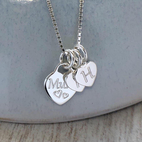 Necklace for mum, 1 silver heart engraved with mum with separate initial charms