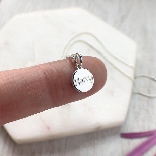 Paw print necklace with name engraved on the back, sterling silver, 8mm - Tracy Anne Jewellery