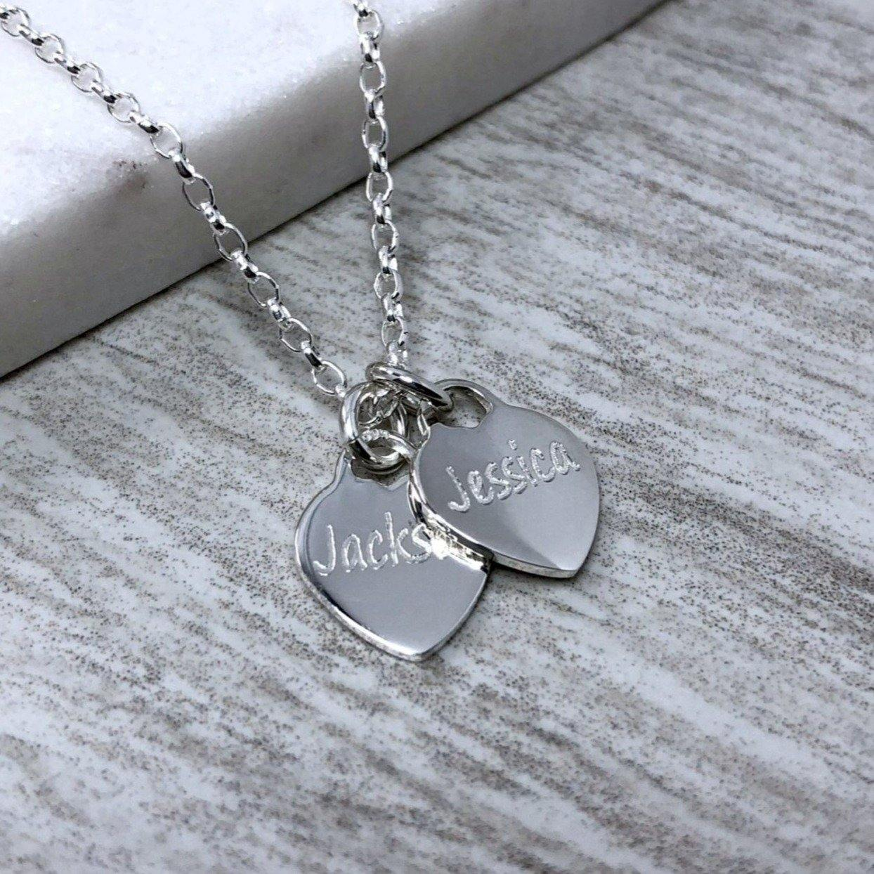 engraved sterling silver heart necklace, small and dainty, personalised with any name up to 7 letters