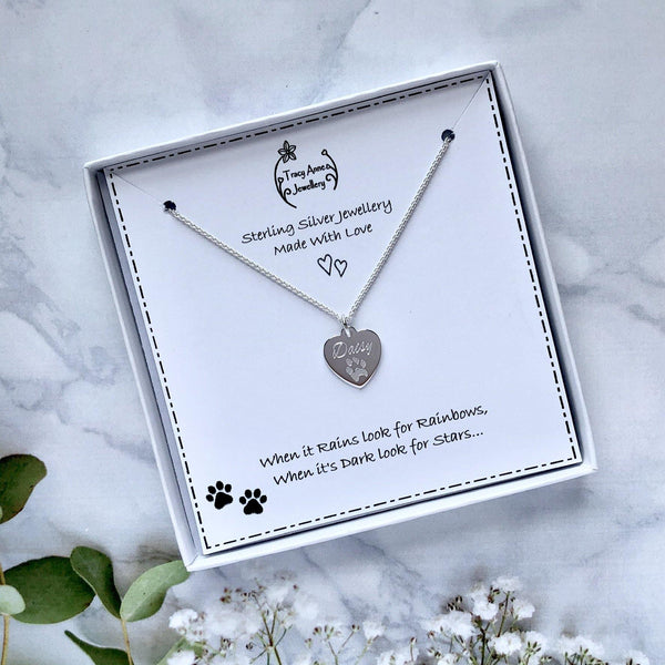 Actual pet paw print necklace, engraved on a sterling silver heart - Tracy Anne Jewellery