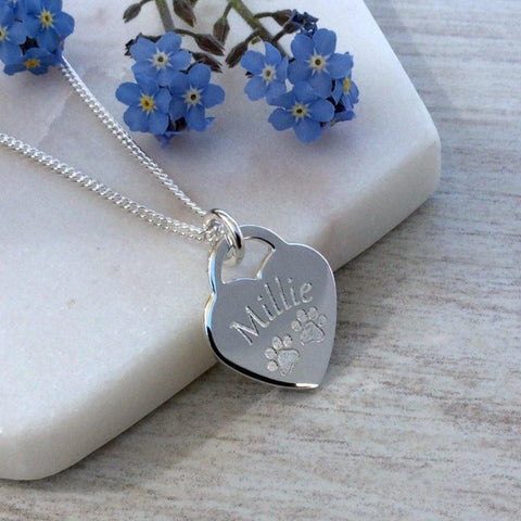 Paw print necklace - a beautiful sterling silver heart personalised with your pet's name