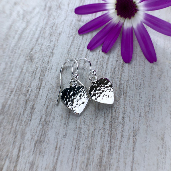Earrings - small sterling silver hearts with hammered finish