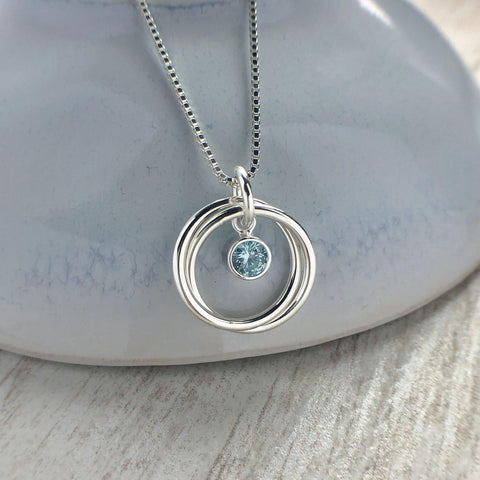 Birthstone necklace with two sterling silver interlocking rings - Tracy Anne Jewellery