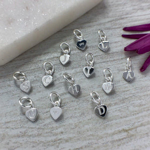 Teeny tiny initial charms engraved in sterling silver, 5mm wide