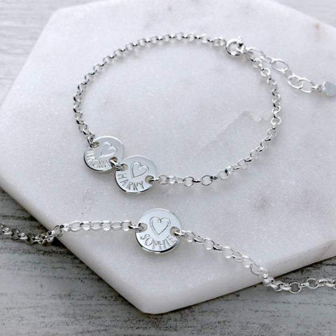 Name bracelet engraved in sterling silver, dainty and simple