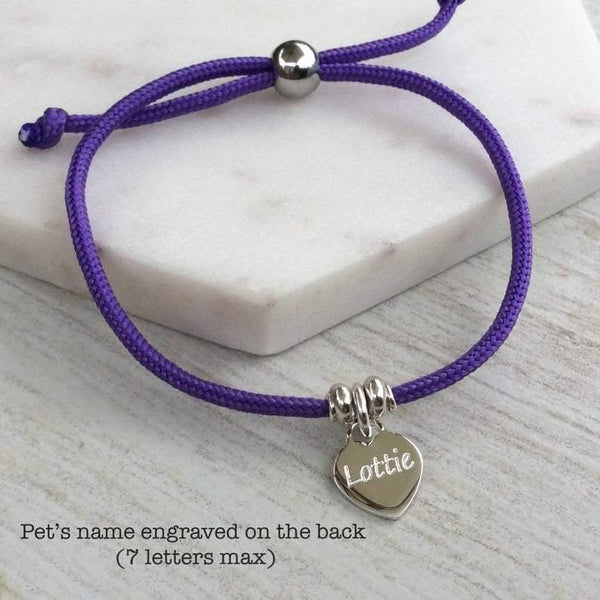 Paw print bracelet with colourful cord and sterling silver heart charm