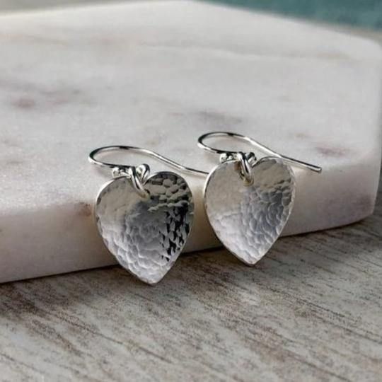 Earrings - sterling silver hearts with pretty, hammered finish