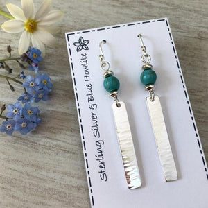 sterling silver hammered bar earrings with blue howlite beads