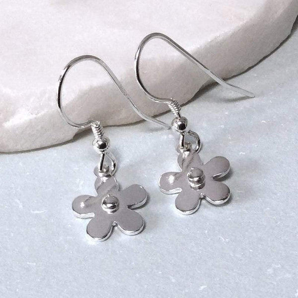 Earrings with sterling silver flower design, small and dainty
