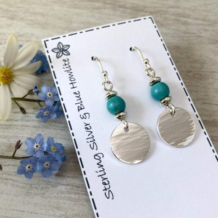 Earrings with hammered sterling silver discs and Blue Howlite beads - Tracy Anne Jewellery