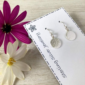 tiny sterling silver hammered disc earrings