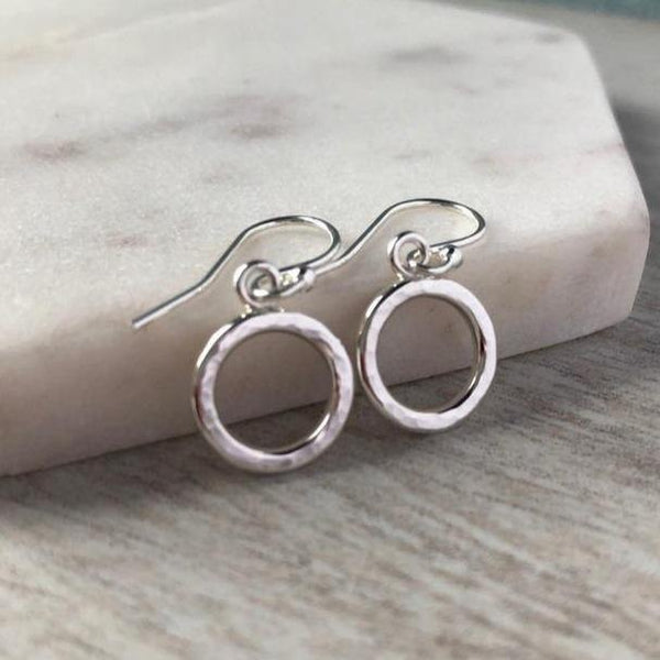 silver circle earrings with hammered finish
