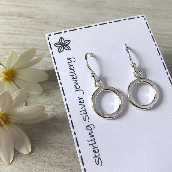 Earrings - simple sterling silver circle design with hammered finish