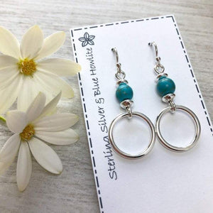 Handmade silver earrings with blue howlite and silver hoops