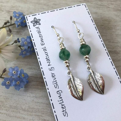 leaf earrings in sterling silver with natural emerald gemstones