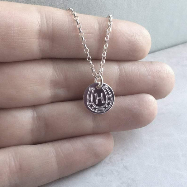 Sterling silver horseshoe necklace, engraved with single initial, 12mm wide - Tracy Anne Jewellery